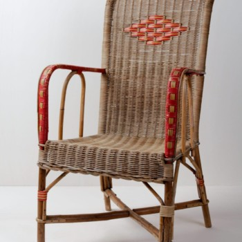 Rattan Chair Sancho | Comfortable rattan armchair. Red details. An ideal companion to rattan chair Letita. | gotvintage Rental & Event Design