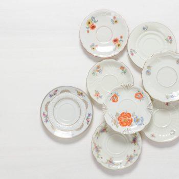 Saucer Carmen Mismatching Floral | Mismatching vintage saucers. Nice plates for pastries, too. | gotvintage Rental & Event Design
