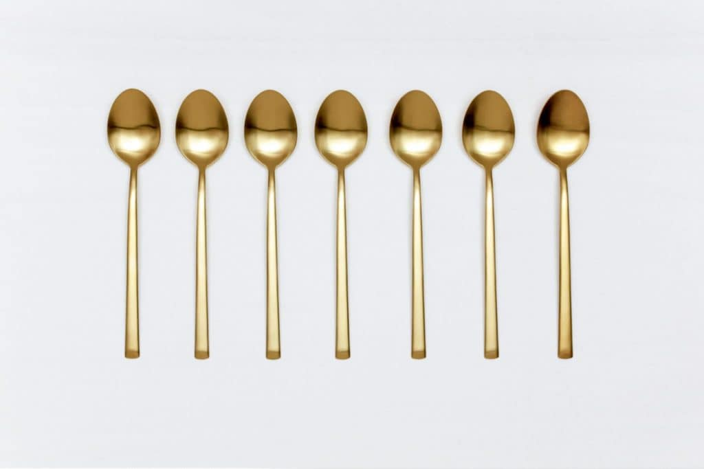 Table Spoon Ines Cutlery Gold Matt   Matte golden PVD-coated stainless steel table spoon in a timeless design and with a nice feel. Can be used for the starter or main course.Matching cutlery including butter knife available for rent as well.   gotvintage Rental & Event Design