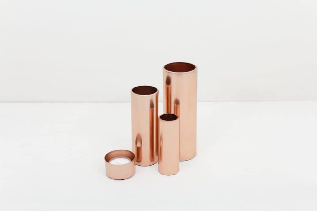 Teelicht Elisa Kupfer   Teelichthalter Kupfer. Werden ohne Kerze geliefert, Teelicht bitte separat bestellen.Lässt sich für einen modernen Touch ideal kombinieren mit unseren Vasen der gleichen Serie in verschiedenen Farben und Größen.   gotvintage Rental & Event Design