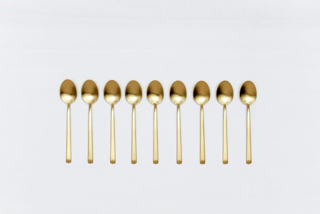 Tea Spoon Ines Cutlery Gold Matt | Matte golden PVD-coated stainless steel tea spoon  in a timeless design and with a nice feel. Matching cake server and butter knives available as well. | gotvintage Rental & Event Design