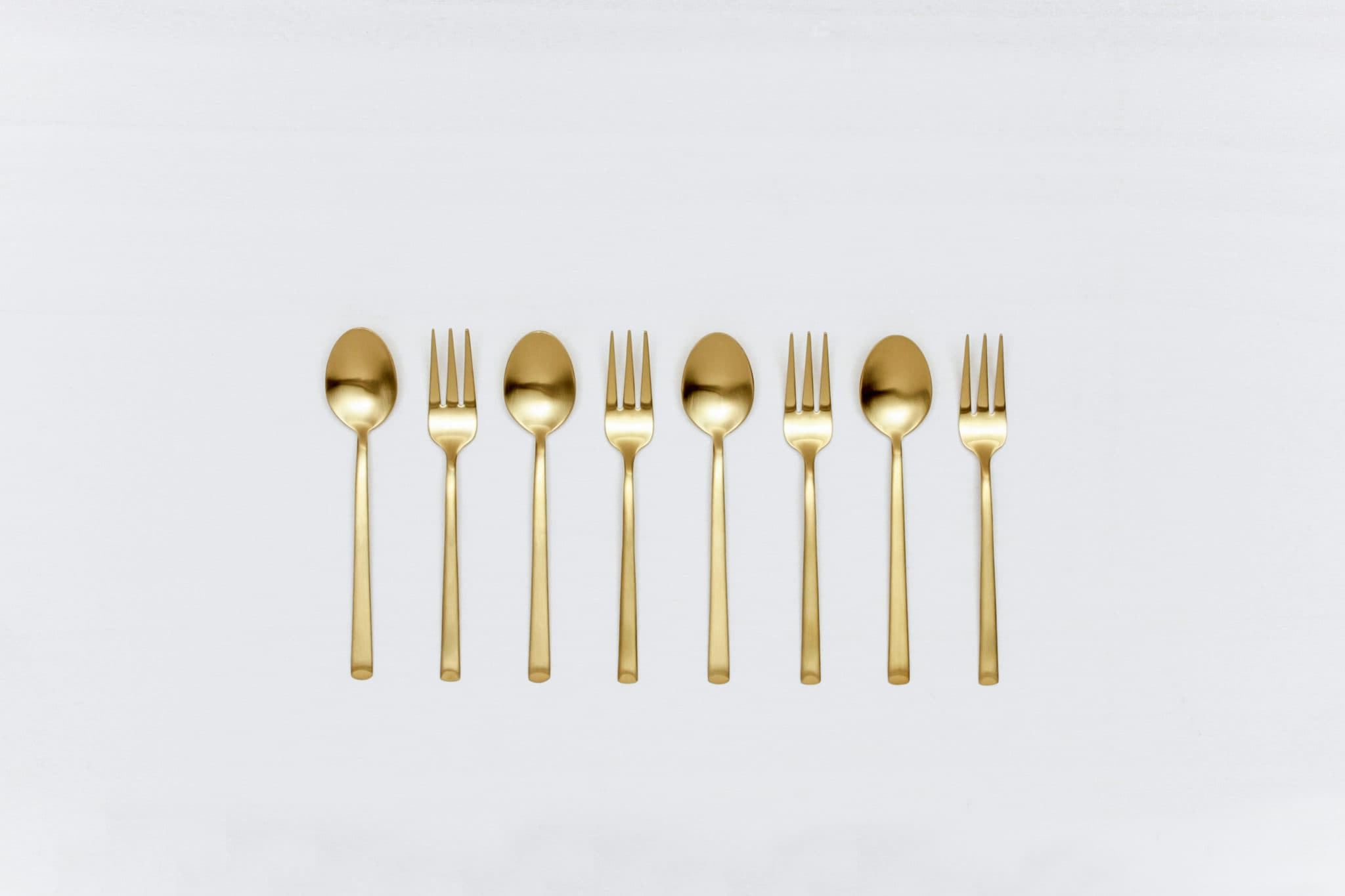 Tea Spoon Ines Cutlery Gold Matt | Matte golden PVD-coated stainless steel tea spoon  in a timeless design and with a nice feel. 