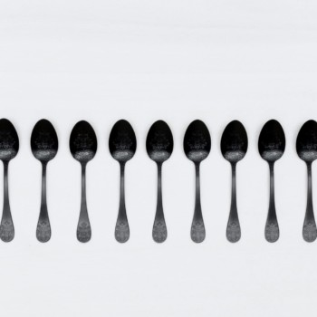 Tea Spoon Natalio Black Matte PVD | Matte black PVD-coated stainless steel cutlery with a nice feel. 