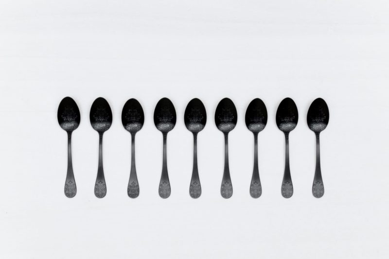 Tea Spoon Natalio Black Matte PVD | Matte black PVD-coated stainless steel cutlery with a nice feel. Matching cake server available for rent as well. | gotvintage Rental & Event Design
