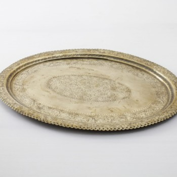 Tray Esteco Vintage | Round gold-coloured vintage tray for serving and decorating. | gotvintage Rental & Event Design
