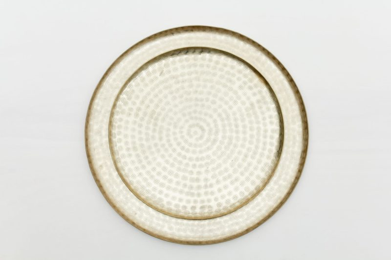 large golden round tray, table center piece