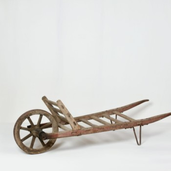 Wooden wheelbarrow, antique furniture, vintage decoration rent