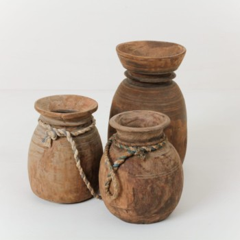 Antique wooden vases, Wabi-Sabi design, outdoor event, rent