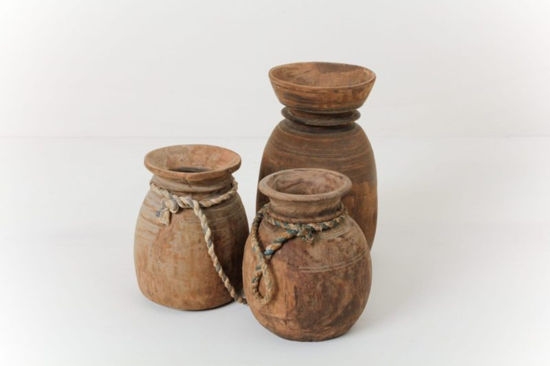 Antique Wooden Vase Blanco | Wabi-Sabi style antique wooden vases. Great as a warm and rustic centerpiece. Or why not use it as a lovely buffet table decoration. | gotvintage Rental & Event Design