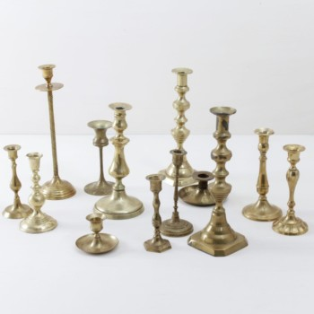 vintage brass candleholders for hire