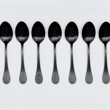 Table Spoon Natalio Black Matte PVD | Matte black PVD-coated stainless steel table spoon with a nice feel. 