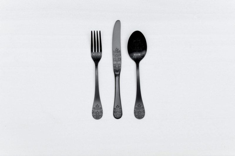 Matt black stainless steel cutlery for rent