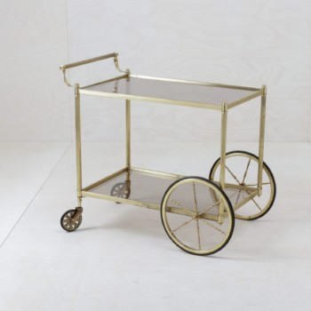 Golden serving trolley, glassdecoration, wedding decoration