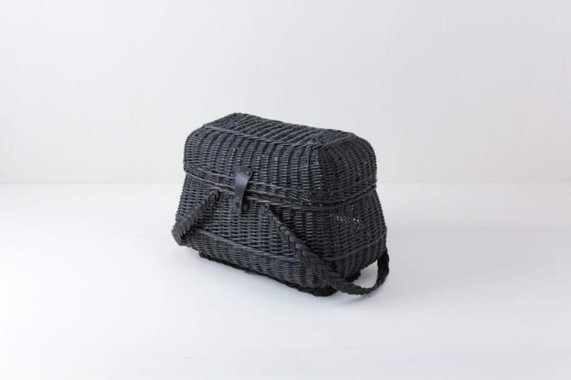 Black woven rattan basket for rent