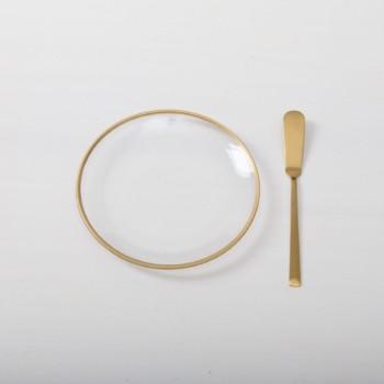 Schlichte Brotteller aus Klarglas mit Goldrand zu mieten