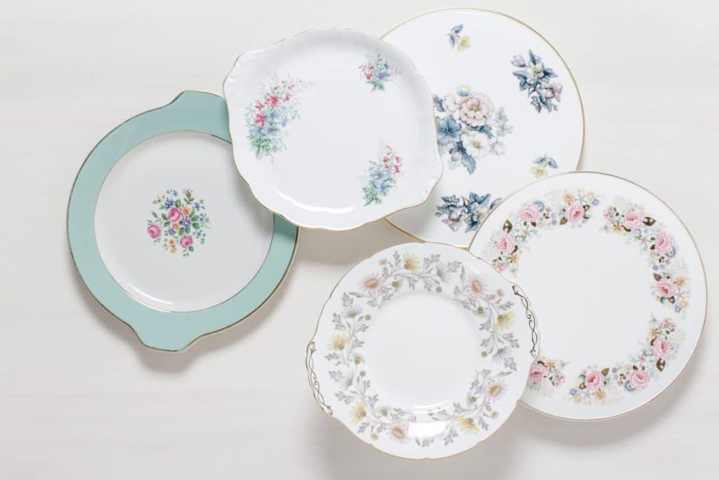 Cake Plate Carmen Mismatching Floral | Mismatching cake plates, various sizes and shapes. Floral patterns. | gotvintage Rental & Event Design