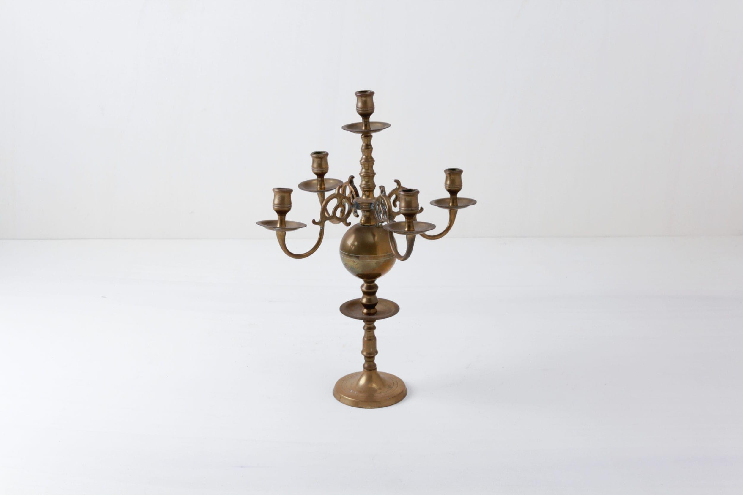 Großer Messing Kerzenständer, mieten, Raumdekoration, Hochzeitstafel