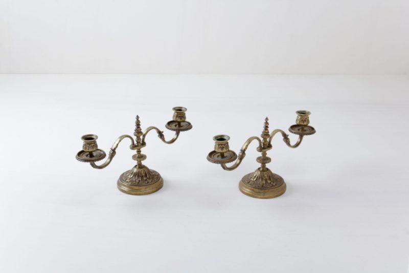 Kerzenständer Amanda | Vintage Doppelkerzenständer in einem alten Goldton. Sehr schön für die Tischdekoration. | gotvintage Rental & Event Design