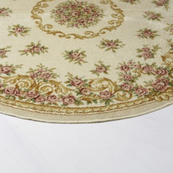 Carpet Carlota | Pastel-coloured round rug with floral motifs. | gotvintage Rental & Event Design
