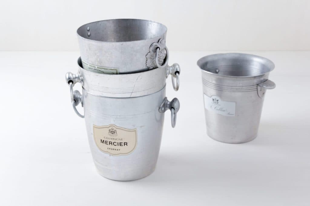 Champagne Buckets Stefano Mismatching | Vintage champagne buckets with various brandings. | gotvintage Rental & Event Design