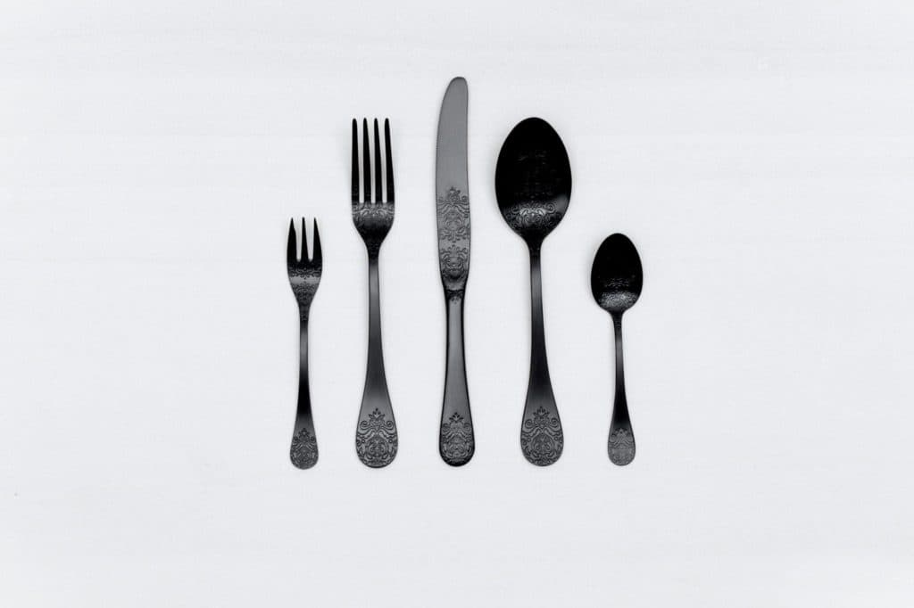 Cutlery Set Natalio Black Matte 5-pieces PVD | Matte black PVD-coated stainless steel cutlery with a nice feel. 