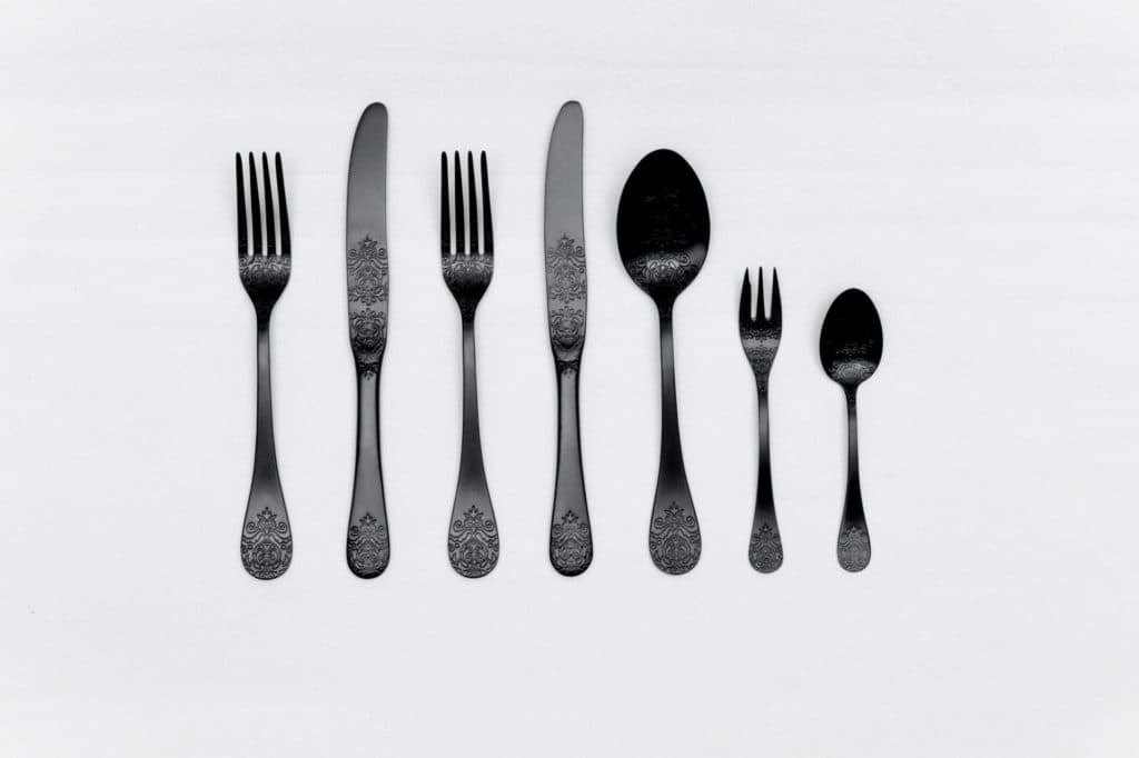 Cutlery Set Natalio Black Matte 7-pieces PVD | Matte black cutlery with a nice feel. 