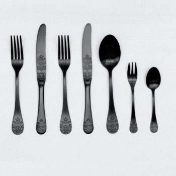 Rent black stainless steel cutlery for events