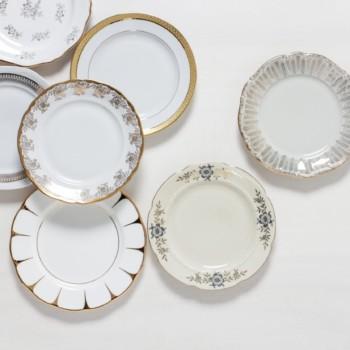 Kuchenteller Margarita Gold Mismatching | Mismatching vintage Kuchenteller, funktioniert auch super als Vorspeisenteller. | gotvintage Rental & Event Design