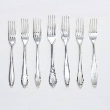 Dinner Fork Antonia Silver-Plated Mismatching | Vintage dinner forks, silver-plated cutlery with nice patina, various patterns. | gotvintage Rental & Event Design