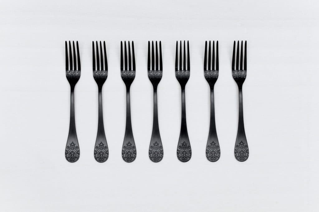 Dinner Fork Natalio Black Matte PVD   Matte black PVD-coated stainless steel fork with a nice feel. Matching cutlery available for rent as well.   gotvintage Rental & Event Design