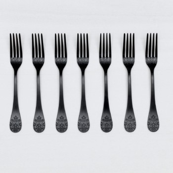 Dinner Fork Natalio Black Matte PVD | Matte black PVD-coated stainless steel fork with a nice feel. Matching cutlery available for rent as well. | gotvintage Rental & Event Design