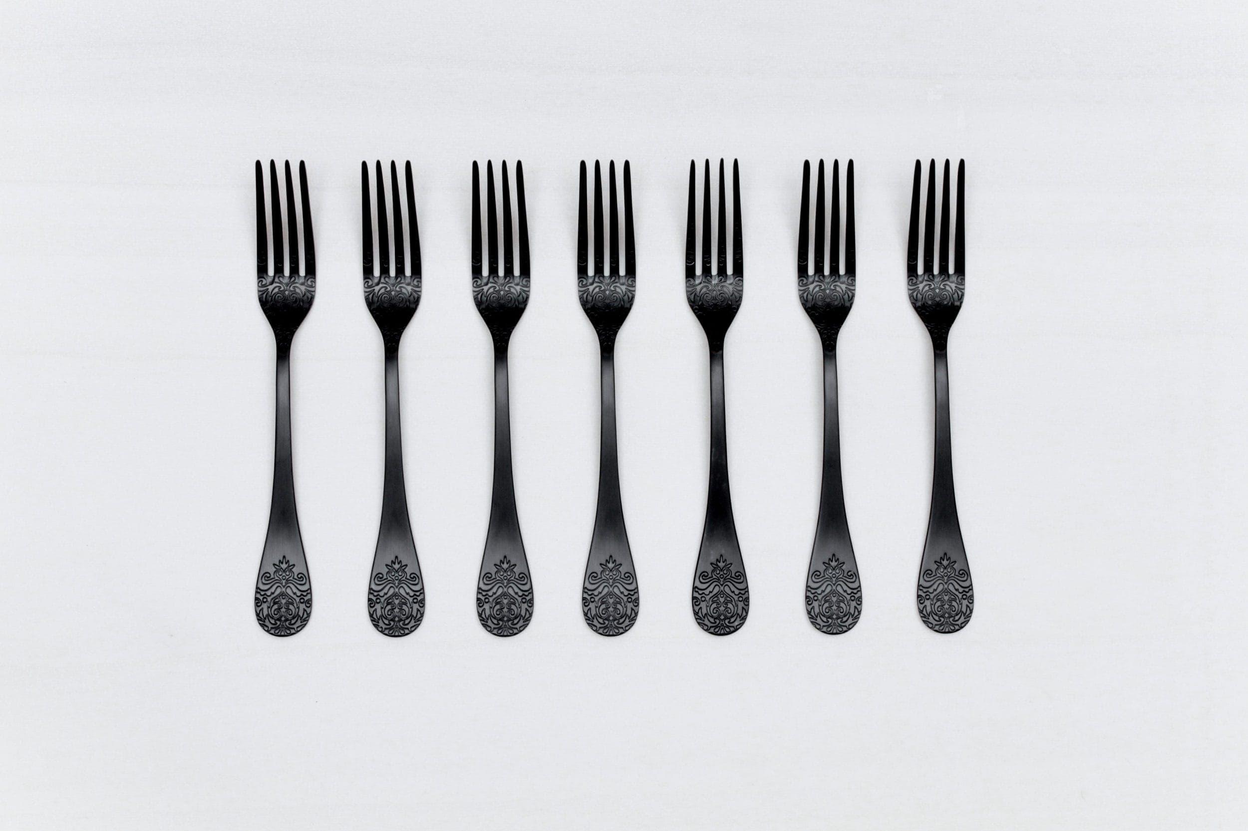Schwarzes Besteck mieten, Tischdekoration, Hochzeitsdekoration
