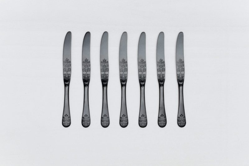 Dinner Knife Natalio Black Matte PVD   Matte black PVD-coated stainless steel knife with a nice feel. Matching cutlery available for rent as well.   gotvintage Rental & Event Design
