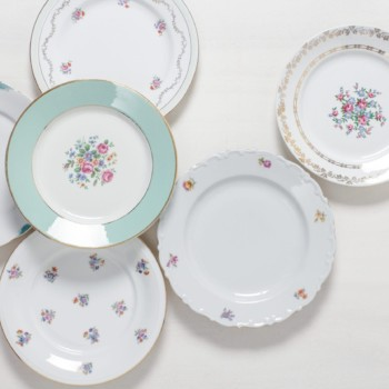 Rental, tableware, flower patterns, gold rims
