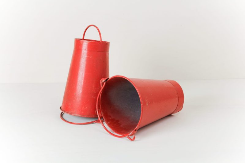 Fire Bucket Concepcion | Set colorful accents with these bright red fire buckets. | gotvintage Rental & Event Design