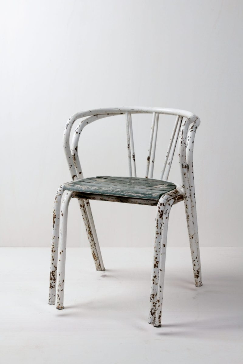 Vintage chairs, metal, wood garden chairs for rent