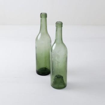Glass Bottles Erasmo | Rare vintage wine bottles made of light green glass. | gotvintage Rental & Event Design