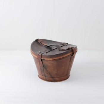 Vintage hat case, leather, event decoration, exhibition stand