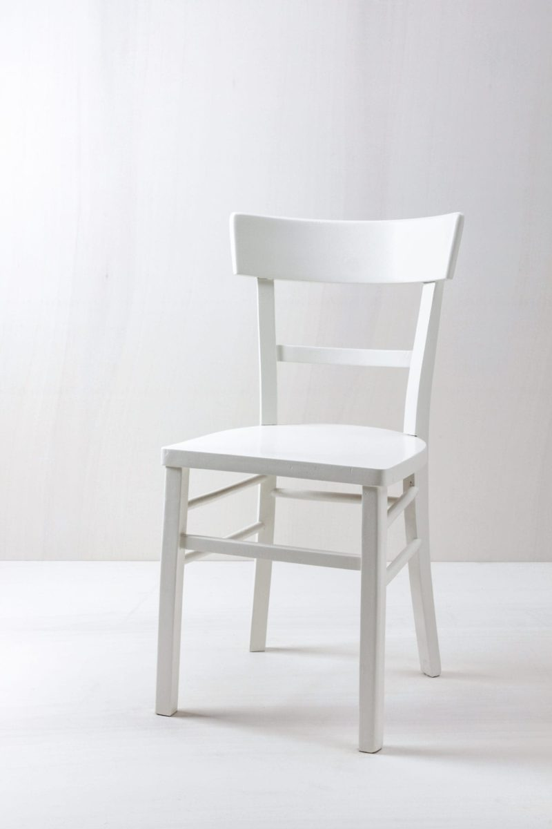 Vintage kitchen chair White semi-gloss finish for rent
