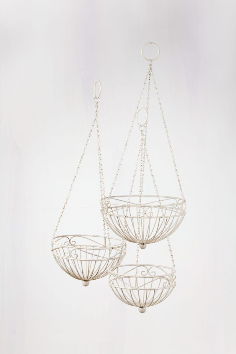 Metal baskets, hanging baskets, event decoration, flowers, plants