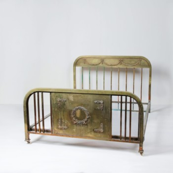 Metal Bed Adrienne | Metal bed with fabulous patina. Pretty and playful, interesting embossing and patterns. An impressive eye-catcher. | gotvintage Rental & Event Design