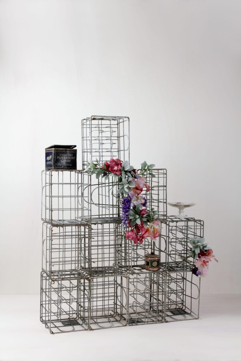 Metal milk crates, wedding decoration, event design, party decoration