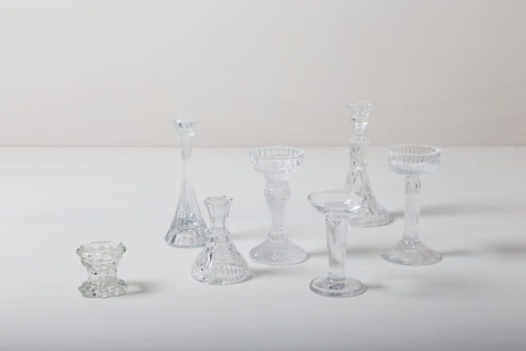 Candle Holder Baradero Glass | Mismatching candle holders made of glass, various sizes. | gotvintage Rental & Event Design