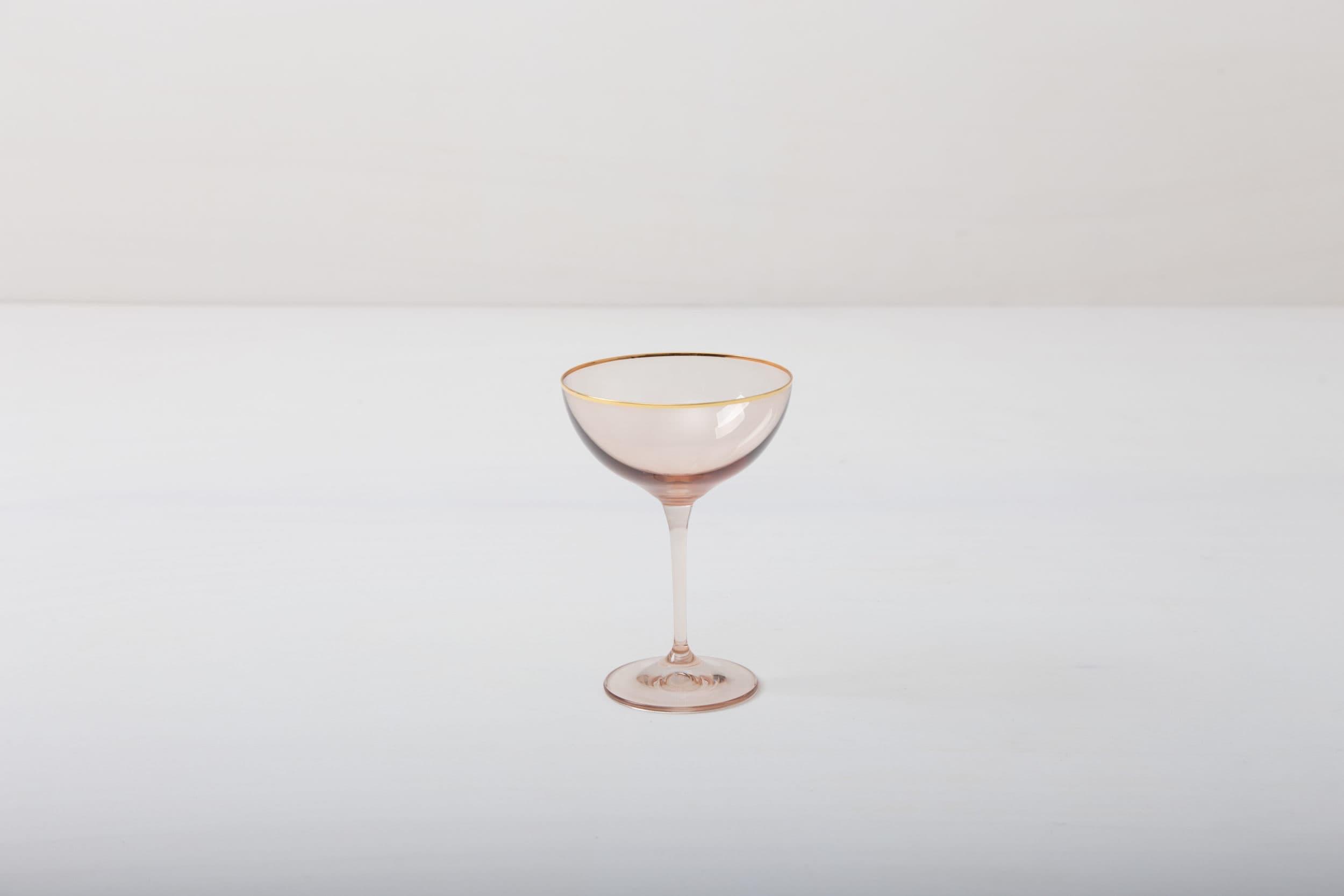 Champagnerschale, rose, Hochzeitstafel, mieten, Goldrand