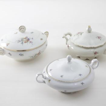 Vintage terrines, gold rimmed tableware & floral patterns for rent