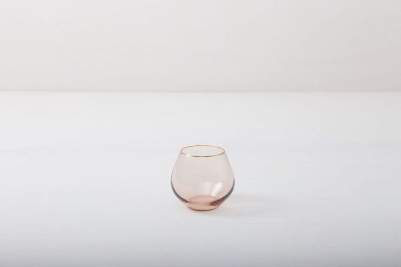 Rent pink colored glasses, glassware, gold rimmed