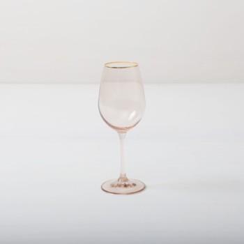 Weinglas Acadia Blush Goldrand 35cl | Unser Weinglas mit Goldrand und leicht rosa gefärbtem Glas gibt jedem Dinner etwas Besonderes. Du kannst dieses Glas als Rotweinglas, Wasserglas oder für Drinks nutzen. Natürlich kann man daraus auch einfach nur Sodawasser trinken.Die komplette Serie enthält, Wasserbecher, Weißweinglas, Rotweinglas, Sektglas, Champagnerschale. | gotvintage Rental & Event Design