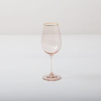 Weinglas Acadia Blush Goldrand 45cl | Unser Weinglas mit Goldrand und leicht rosa gefärbtem Glas gibt jedem Dinner etwas Besonderes. Du kannst dieses Glas als Rotweinglas, Wasserglas oder für Drinks nutzen. Natürlich kann man daraus auch einfach nur Sodawasser trinken.Die komplette Serie enthält, Wasserbecher, Weißweinglas, Rotweinglas, Sektglas, Champagnerschale. | gotvintage Rental & Event Design