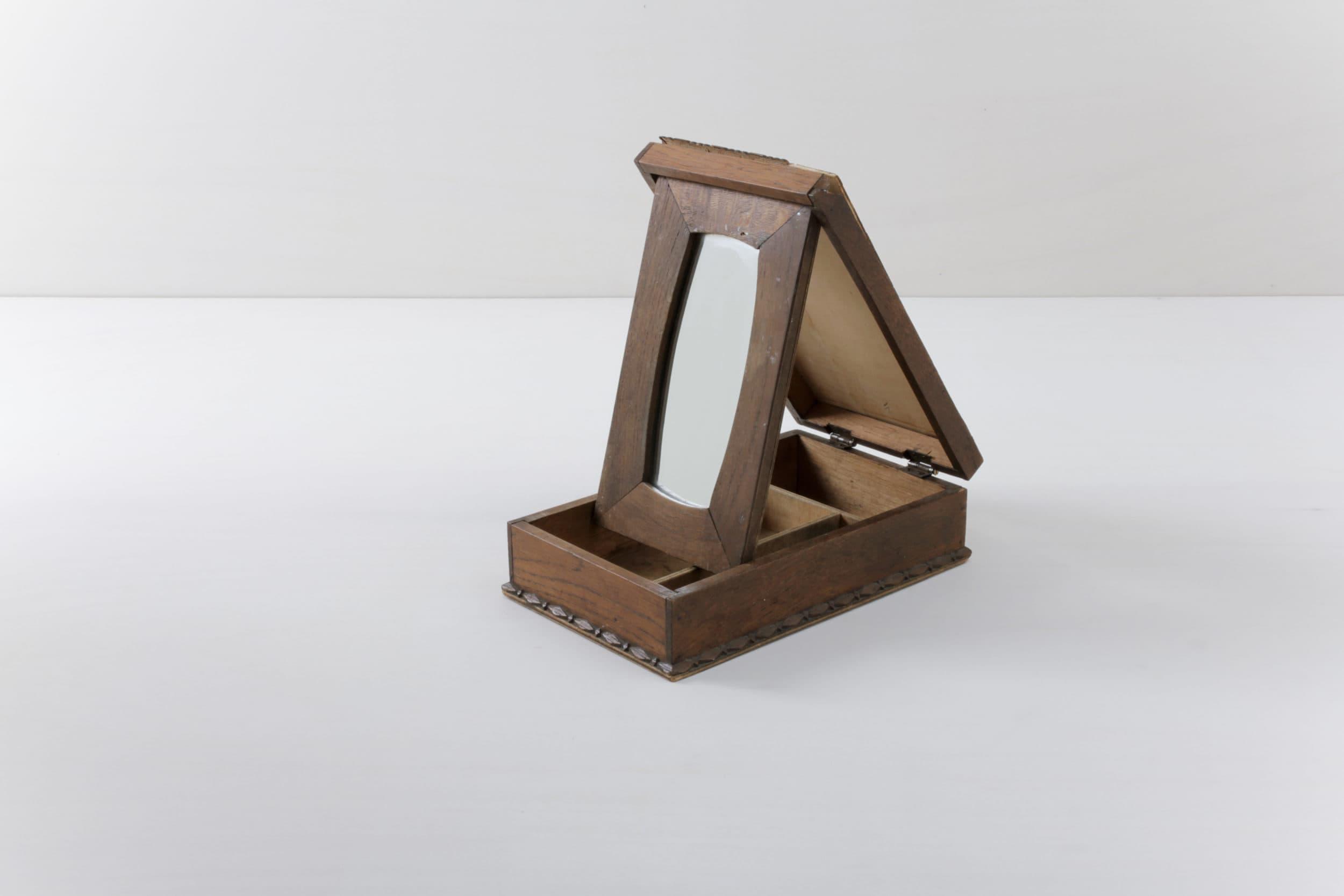 Vintage Holzschatulle, Spiegelbox, Messedekoration, Mieten