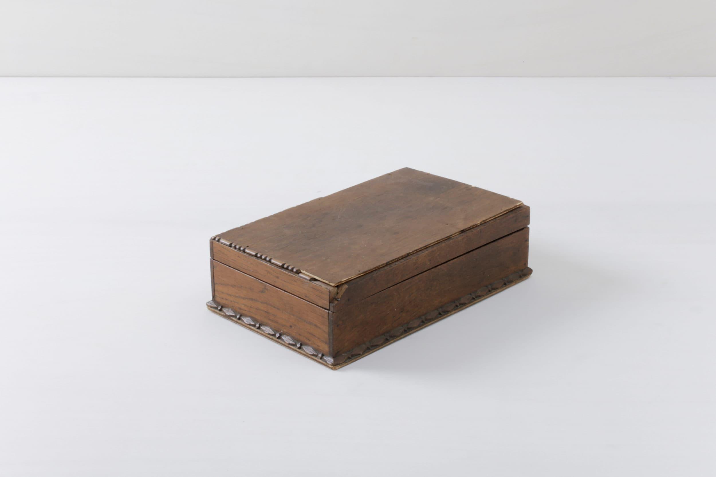 Vintage Holzschatulle, Spiegelbox, Messedekoration